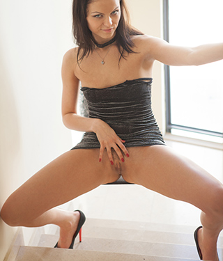 Tessa Ray Tight Black Dress No Panties Upskirt Pussy Upstairs - Picture 8